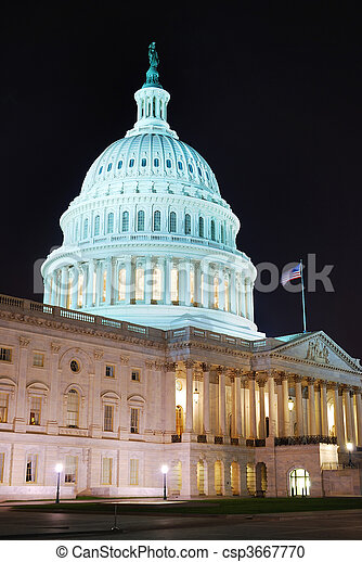 Capitol Hill Building closeup, Washington DC - csp3667770