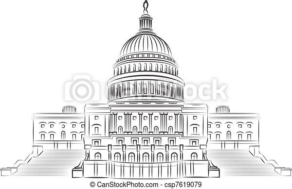 Capitol hill outline vector illustr - csp7619079