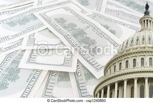 capitolio, dólares, nosotros, billetes de banco, plano de fondo, 100 - csp1240860