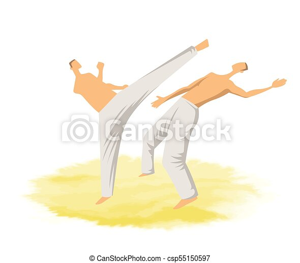 capoeira, illustration., mannen, twee, traditionele , krijgshaftig, vector, fighting., braziliaans, art. - csp55150597