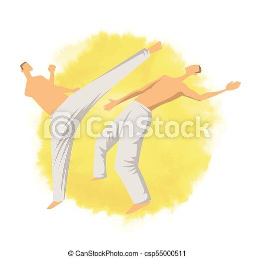 capoeira, illutration, mannen, vrijstaand, twee, traditionele , krijgshaftig, vector, fighting., braziliaans, logo, art., white. - csp55000511