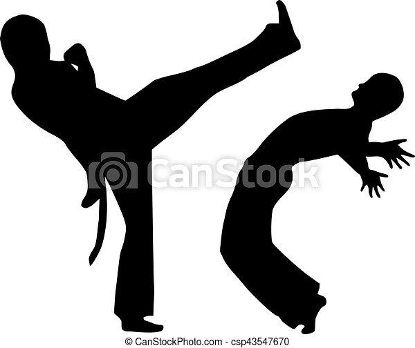 capoeira, twee, vecht, man - csp43547670