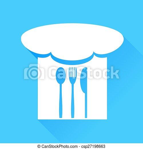 cappello chef, forchetta, coltello, cucchiaio - csp27198663