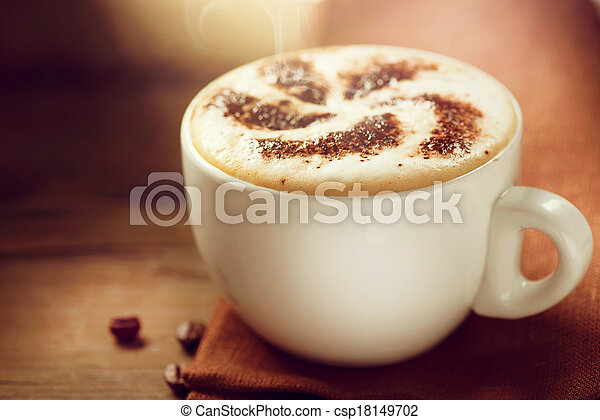 Cappuccino. Cup of Cappuccino or Latte Coffee - csp18149702