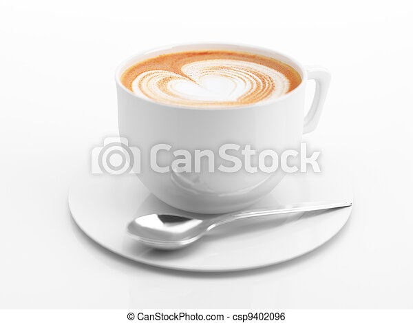 Cappuccino mug close up, with a heart decorated on top of foam. - csp9402096