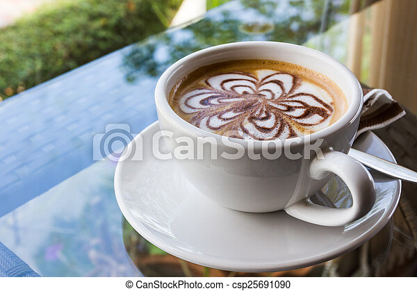 Cappuccino or latte coffee. - csp25691090