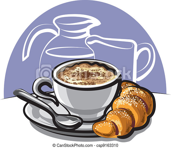 Cappuccino With Croissant  - csp9163310