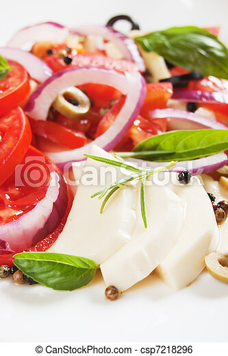 Caprese salad with mozzarella, tomato and basil - csp7218296