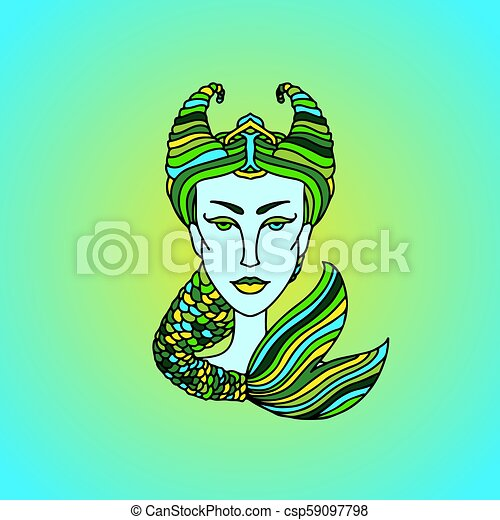 Capricorn girl portrait  Zodiac sign  Green and yellow vector illustration