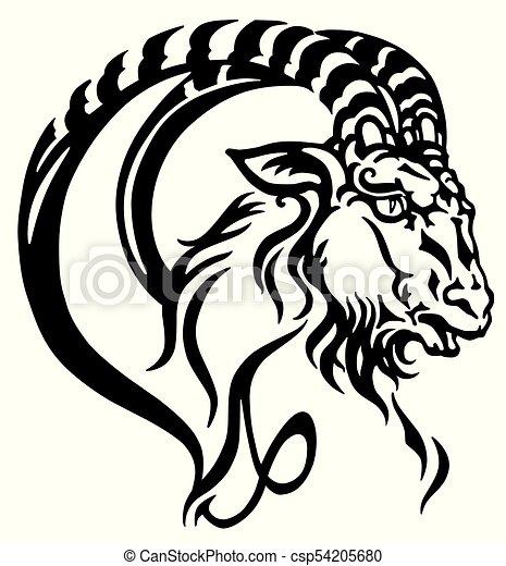 capricorn head tattoo - csp54205680