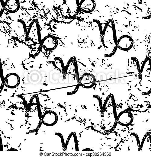Capricorn pattern, grunge, monochrome - csp30264362