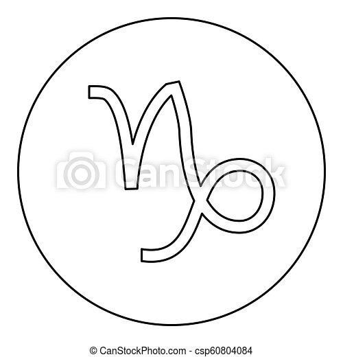 Capricorn Symbol Zodiac Icon Black Color In Round Circle Outline