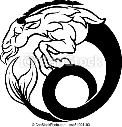 Capricorn Zodiac Sign A Circular Capricorn Sea Goat Horoscope