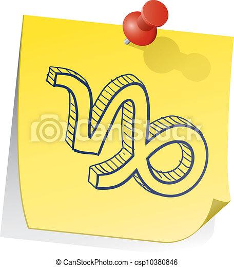 capricorno, zodiaco, nota, appiccicoso - csp10380846