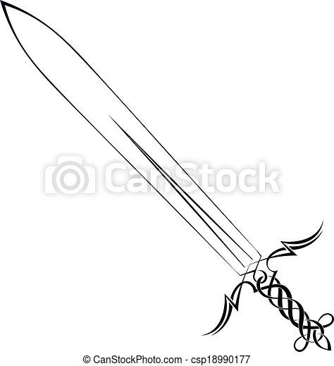 capstrzyk, białe tło, miecz - csp18990177