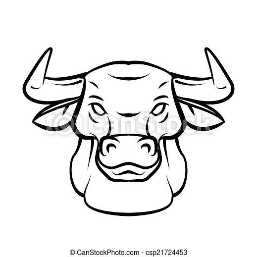 capstrzyk, głowa, wektor, byk, illustratio - csp21724453