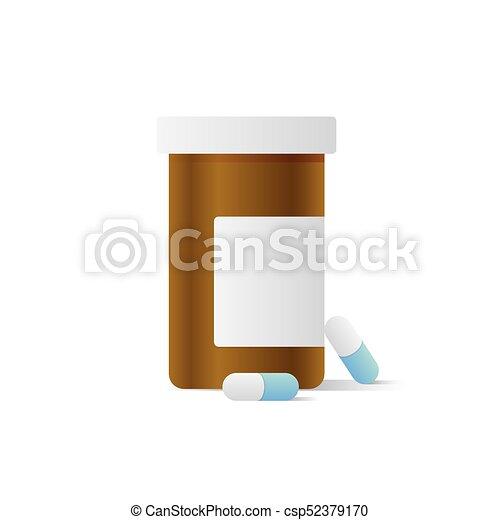 Capsule bottle illustration vector on white background. Medical concept. - csp52379170