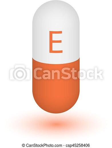 capsule, pictogram, e, vitamine pil - csp45258406