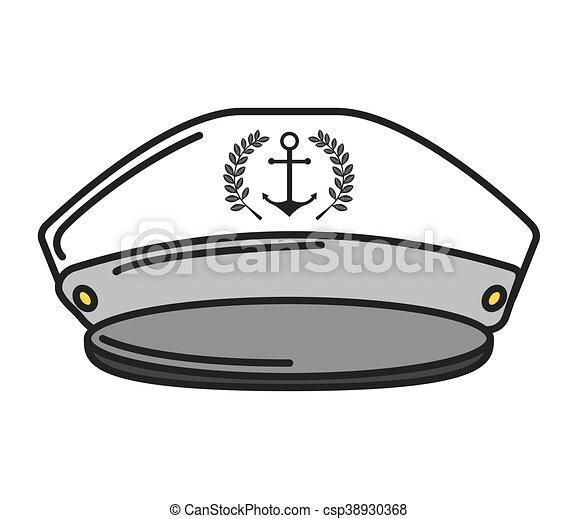cf7a3410583da Captain sailor anchor hat vector isolated graphic.