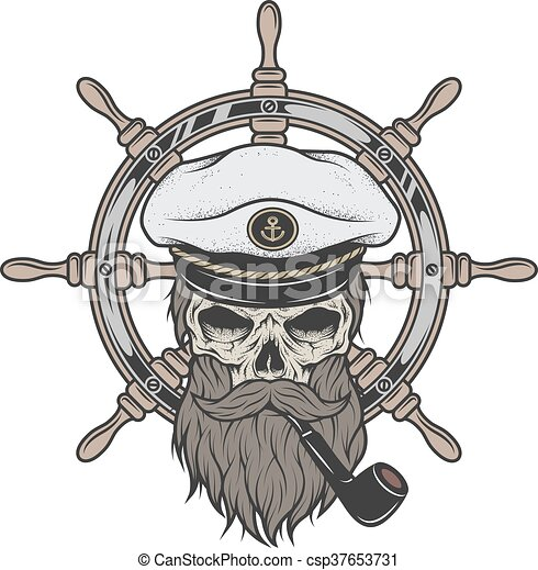 Vector Captain Skull In A Hat With Beard