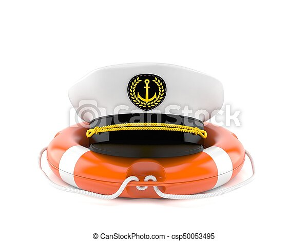 7e3ce395e5c Captain s hat with life buoy isolated on white background.