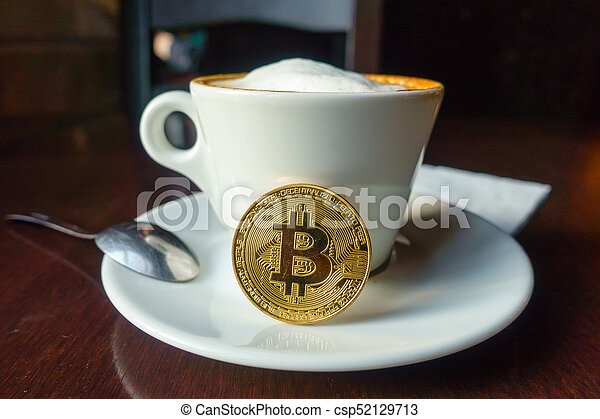 capuccino, monnaie, or, bitcoin, table, café - csp52129713