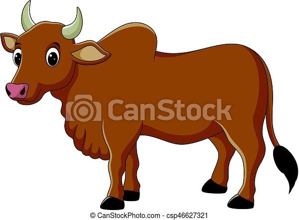 Personaje de vaca de dibujos animados - csp46627321