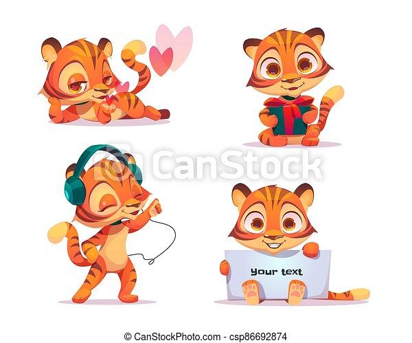carácter, conjunto, bebé, vector, lindo, tigre - csp86692874