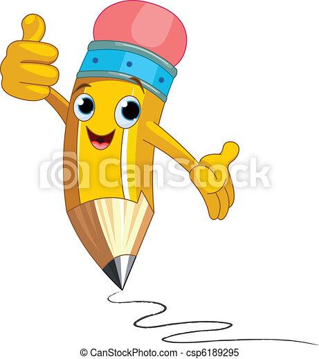 Personaje de lápiz dando pulgares arriba - csp6189295