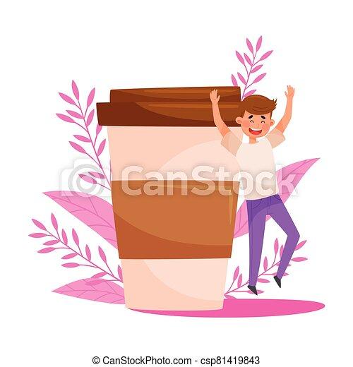 carácter, fondo, alegría, hombre saltar, café, vector, ilustración, joven, taza, inmenso, floral - csp81419843
