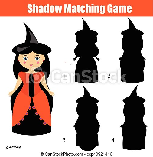 Carácter, juego, halloween, tema, bruja, sombra, emparejar ...