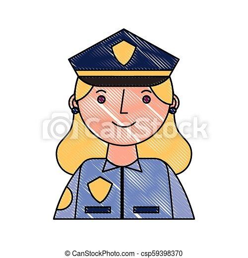 Mujer policía con carácter uniforme - csp59398370
