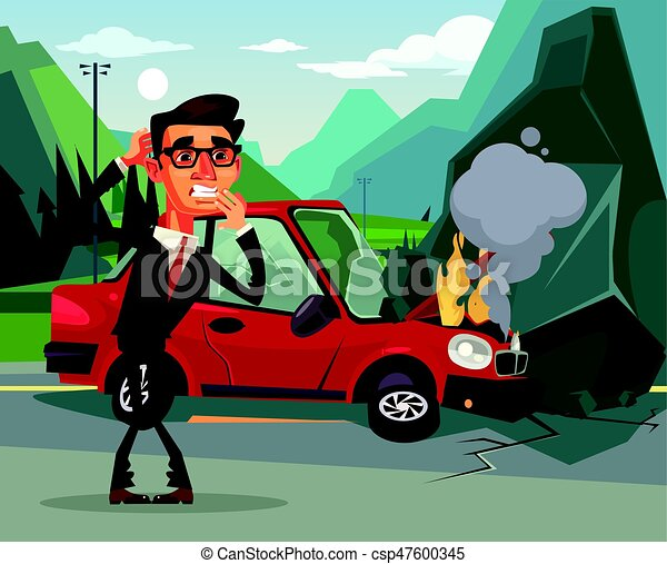 Car accident. angry crying scaring victim businessman office worker ...