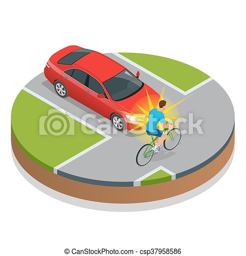Car Accident Bike Accident With A Vehicle Flat 3d Vector Isometric Illustration Accident Road Situation Danger Car Crash And Accident Road
