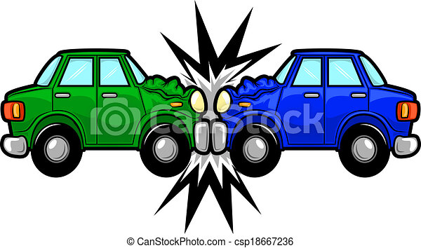 car accident cartoon illustration of two cars involved in a car wreck rh canstockphoto com car crash cartoon image car crash cartoon picture