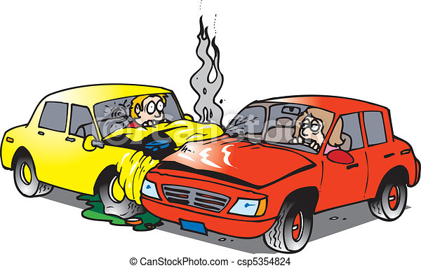 Car accident. Two cars in an accident in an intersection.