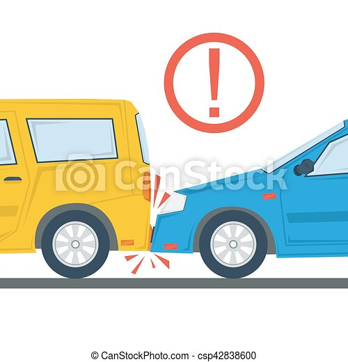 Car accident flat illustration isolated - csp42838600