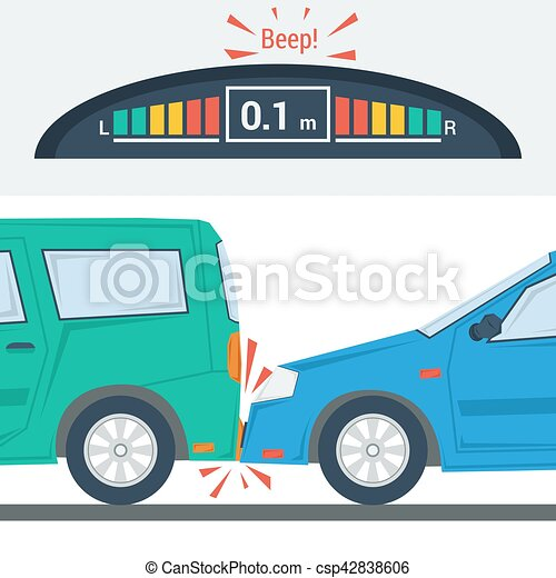 Car accident flat illustration isolated - csp42838606