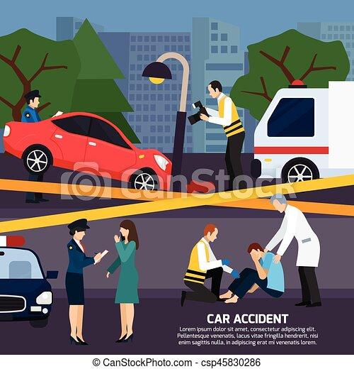 Car Accident Flat Style Illustration - csp45830286