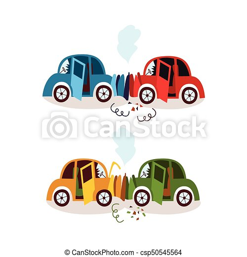 Car accident, head on and rear end collision set. Car... clip art ...