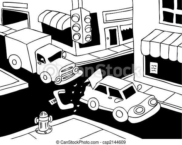 Car Accident Line Art Truck Read Ends A Car On The Street
