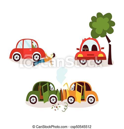 Car accident, pedestrian knockdown, broken tree. Car accident set ...