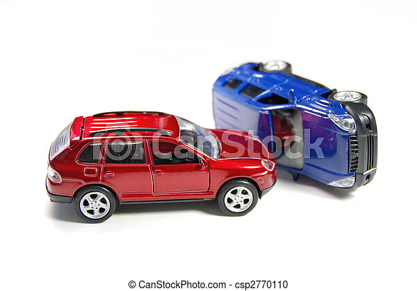 Car Accident Two Toy Cars In A Crash Position