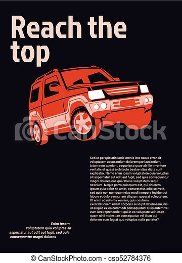 Car ad poster. Red suv on black background with sample text - csp52784376