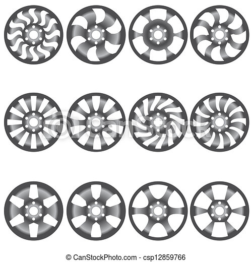Car  alloy wheels, vector illustration - csp12859766