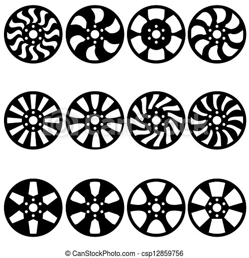 Car  alloy wheels, vector illustration - csp12859756