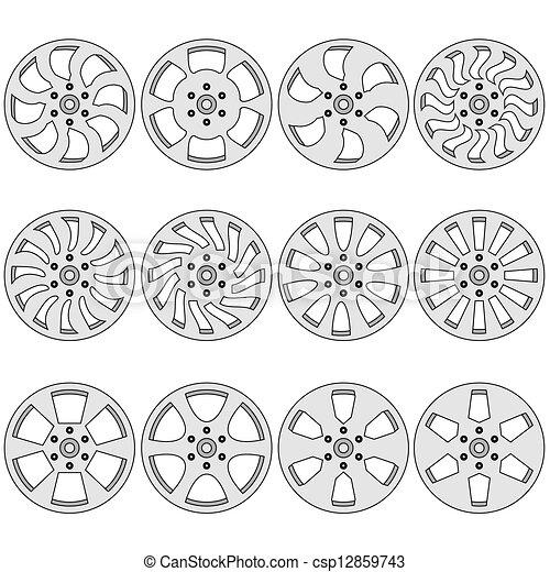 Car  alloy wheels, vector illustration - csp12859743