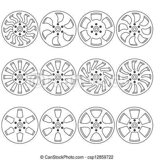 Car  alloy wheels, vector illustration - csp12859722