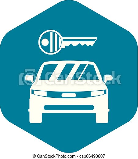 Car and key icon, simple style - csp66490607