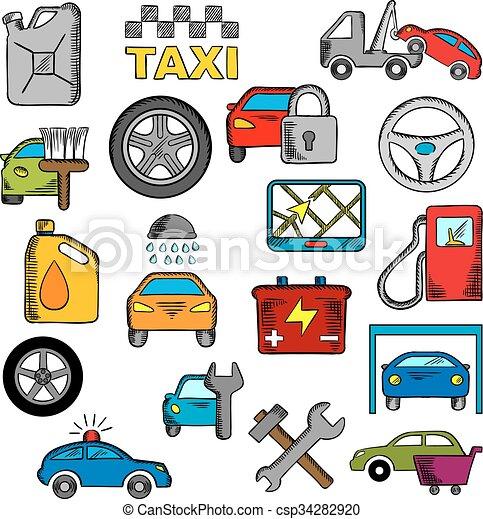 Car and repair service icons - csp34282920